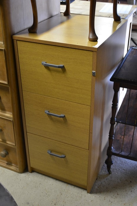 Lot 53 - Ash veneered three drawers filing chest (key with office)