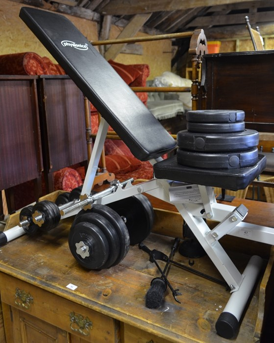 Lot 47 - Physionics adjustable weights bench with various weights