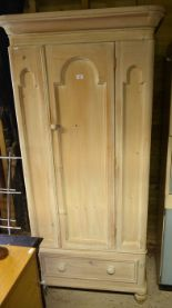 Lot 32 - Victorian art painted pine single wardrobe with panelled door enclosing hanging space over a