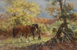 Lot 494 - Rosemary Sarah Welch Autumn Carpet Shires horses in a wooded landscape Oil on canvas Signed and