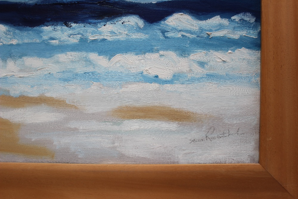 Lot 496 - Stan Rosenthal Whitsands Beach Oil on canvas Signed and label verso 121 x 90cm