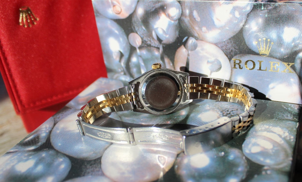 """Lot 147 - A Lady's stainless steel Rolex oyster perpetual Datejust wristwatch with a """"Rolex impressed dial"""""""