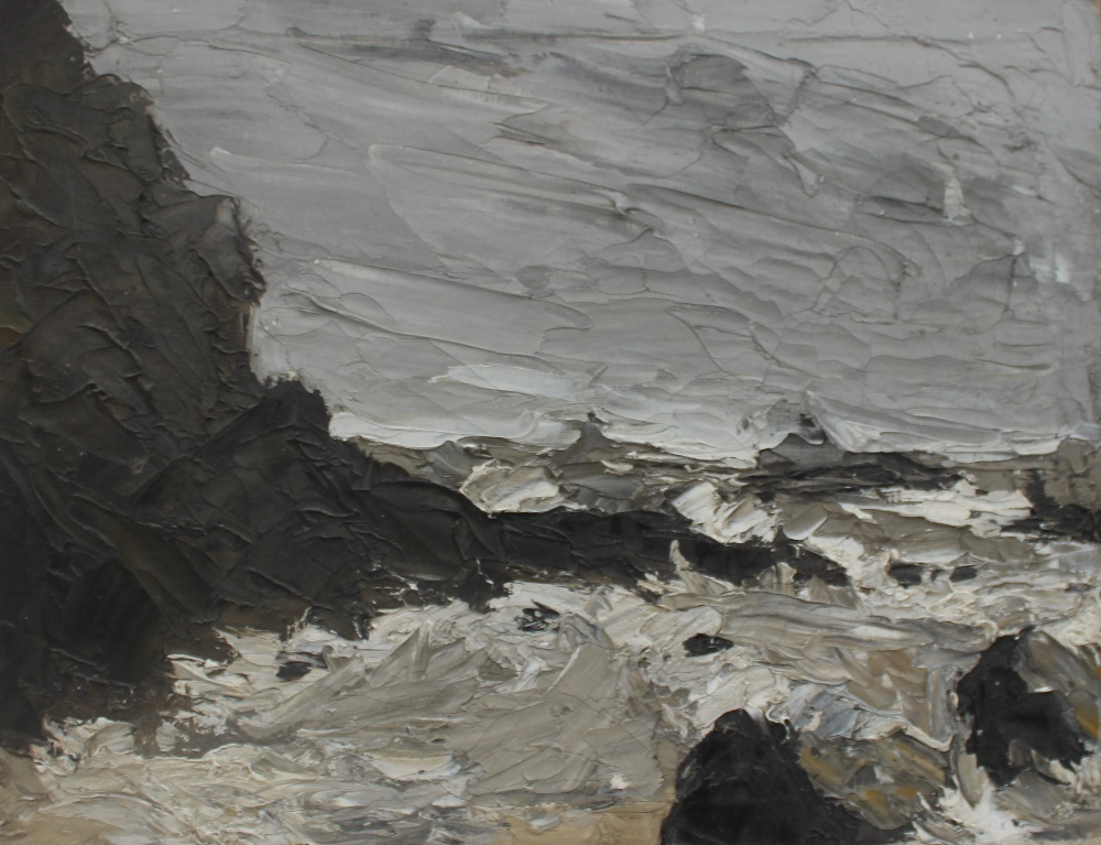 Lot 497 - School of Sir Kyffin Williams A coastal scene with rocks in the foreground Oil on canvas 30 x 40cm