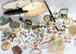 Lot 30A - A quantity of costume jewellery including a pocket watch, cameo brooch, rings, faux pearls,