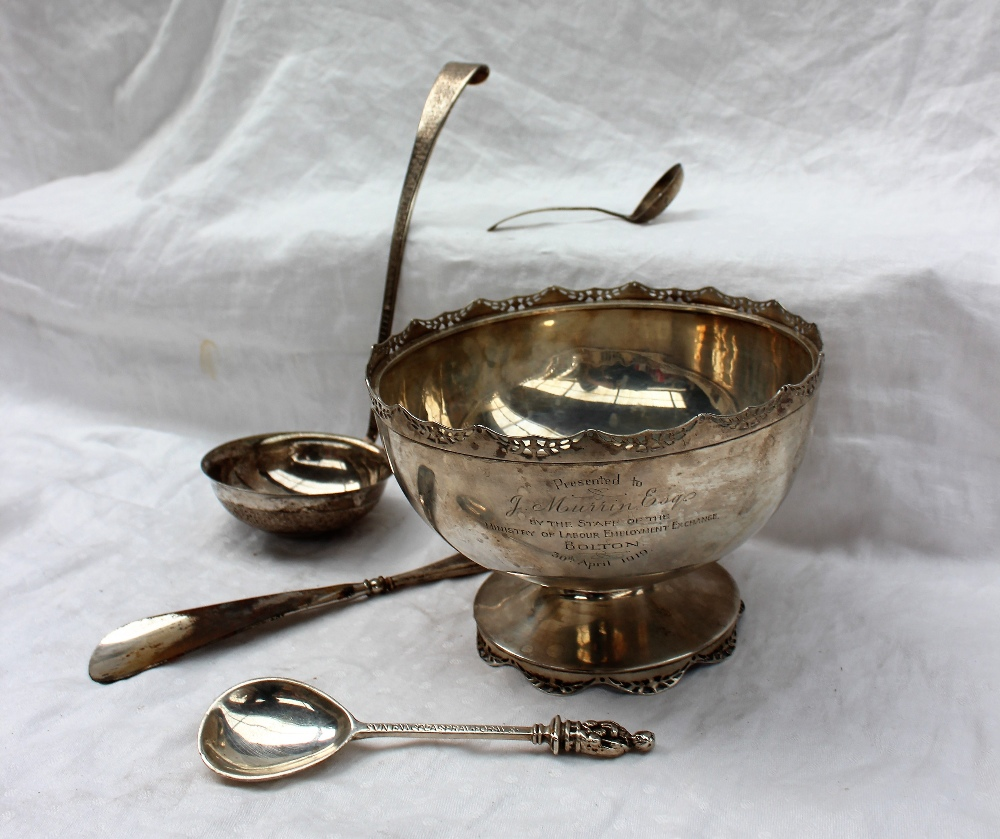 Lot 321 - A George V silver pedestal bowl, with a pierced shaped rim, on a spreading similarly decorated base,