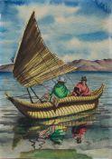 D. Rivera (südamerikanischer Künstler d. 1. Hälfte des 20. Jh.) Papyrusboot Aquarell, 25 x 18 cm,