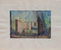 """Unbekannt (Maler u. Zeichner zur Mitte des 20. Jh.) Bühnenbild zu """"Glasmenagerie"""" nach Tennessee"""