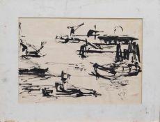 Unbekannt (Maler u. Zeichner zur Mitte d. 20. Jh.) Hafenansicht Tuschzeichnung, 27 x 40 cm,