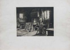 Unbekannt (Radierer des 19. Jh.) In der Schmiede Radierung, 25,5 x 33 cm, ungerahmt, gedruckt bei