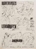 """Ausstellungsplakat""""Radierungen und Lithografien Joachim John"""", Galerie am Dom Schwerin 1979, 63 x 45"""