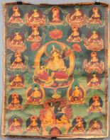 Lot 32 - Gelbe Tara ? Thangka, China / Tibet alt.58 cm x 45 cm. Gemälde.Yellow Tara ? Thangka, China /