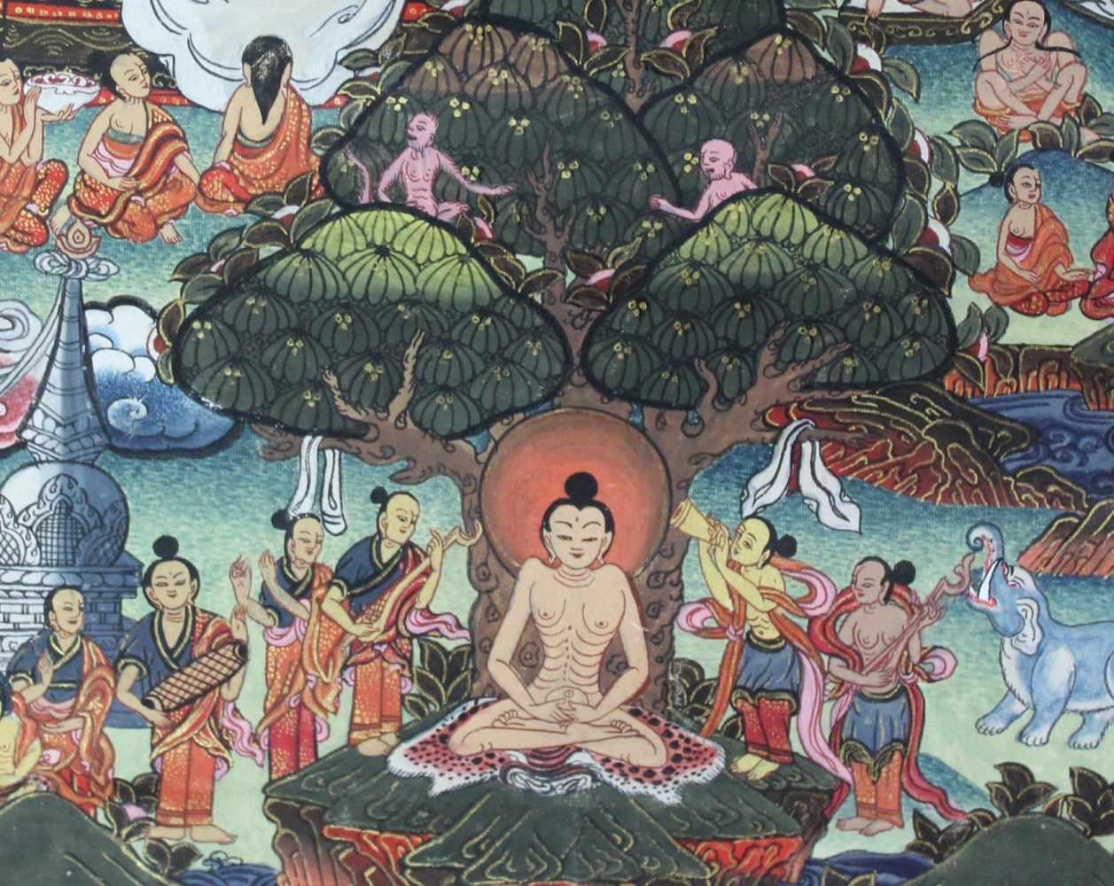 Lot 28 - Buddha Thangka, wohl Darstellung des Guru Sakyasimha. China / Tibet alt.75 cm x 50 cm. Gemälde.