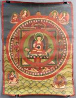 Lot 56 - Buddha Mandala / Thangka, China / Tibet alt.53 cm x 40 cm. Gemälde. Mandala in reduzierter