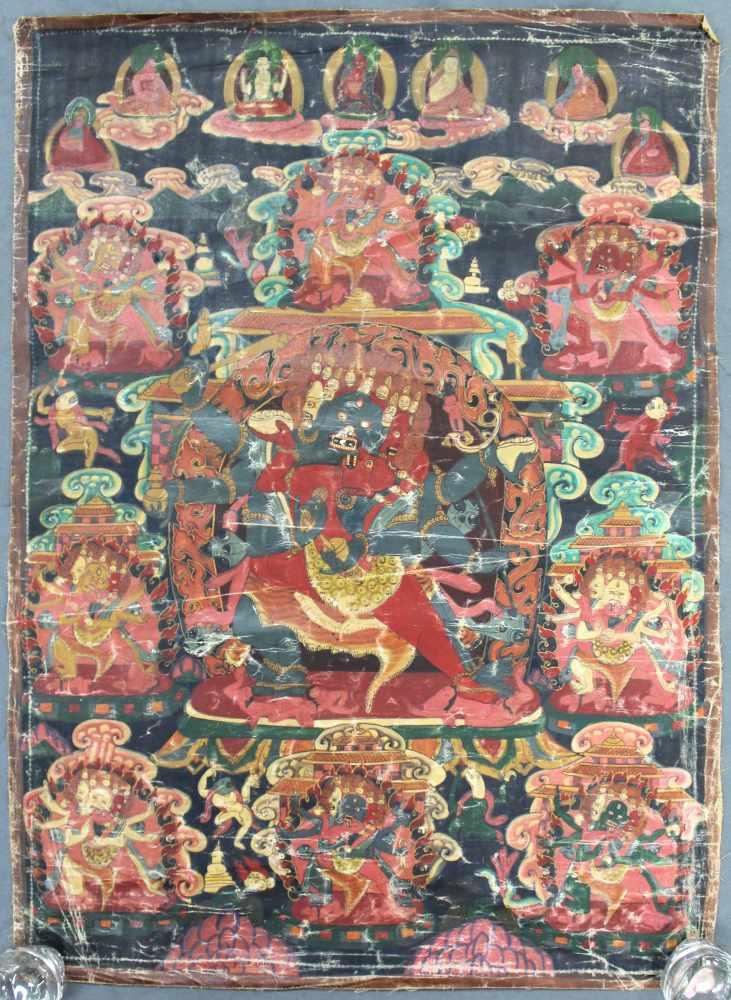 Lot 4 - Thangka, China / Tibet alt. Wohl Yama / Mahakala ?72 cm x 52 cm. Gemälde.Thangka, China / Tibet old.