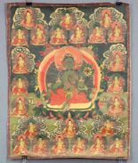 Lot 48 - Tara ? Thangka, China / Tibet alt.60,5 cm x 47 cm. Gemälde.Tara ? Thangka, China / Tibet old.60,5 cm