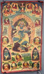 Lot 61 - Thangka, China / Tibet alt. Wohl Shadbhuja - Mahakala.72 cm x 42 cm. Gemälde. Stehend auf