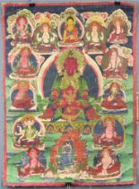 Lot 44 - Amithaba? Buddha Thangka, China / Tibet alt.69,5 cm x 50 cm. Gemälde.Amithaba? Buddha Thangka, China