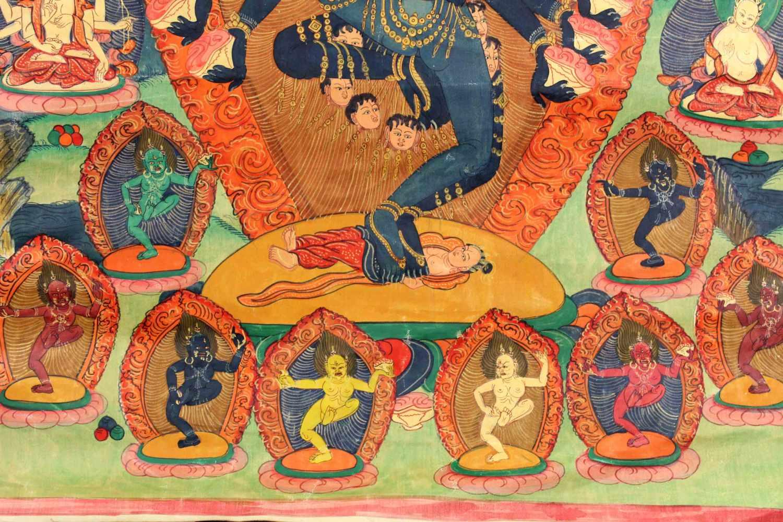 Lot 41 - Thangka, China / Tibet alt. Wohl Yamantaka.51 cm x 43,5 cm. Gemälde.Thangka, China / Tibet old.