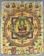 Lot 46 - Buddha Mandala / Thangka, China / Tibet alt.72 cm x 58 cm. Gemälde. Mit reduziertem Architekturkreis