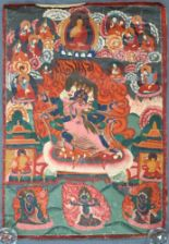 Lot 17 - Thangka, China / Tibet alt. Wohl Yama / Mahakala.65 cm x 46 cm. Gemälde.Thangka, China / Tibet