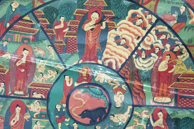 Lot 16 - Bhavacakra Mandala, China / Tibet alt.60 cm x 47 cm. Gemälde. Lebensrad Mandala mit 6 Buddhas. Im