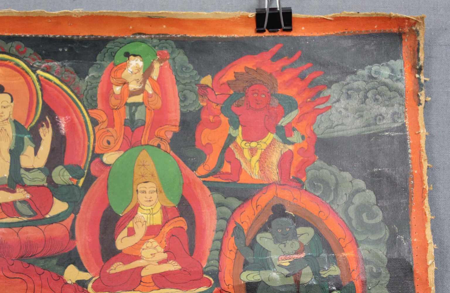 Lot 59 - Thangka, China / Tibet alt. Wohl Vajrakila mit Dakini ?59,5 cm x 44,5 cm. Gemälde. Stehend auf