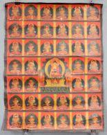 Lot 49 - Buddha mit 38 Gurus, Thangka, China / Tibet alt.59,5 cm x 45,5 cm. Gemälde.Buddha with 38 gurus,