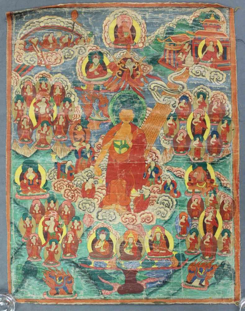 Lot 9 - Thangka, ''Herabsteigen aus dem Himmel'', China / Tibet alt.65,5 cm x 50,5 cm. Gemälde.
