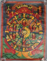 Lot 14 - Bhavachakra / 6 Buddha Mandala, China / Tibet alt.64,5 cm x 48 cm. Gemälde. Lebensrad Mandala mit