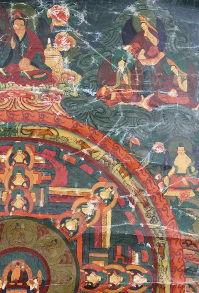 Lot 20 - Kalachakra ? Mandala, China / Tibet alt.57,5 cm x 40,5 cm. Gemälde.Kalachakra ? Mandala, China /