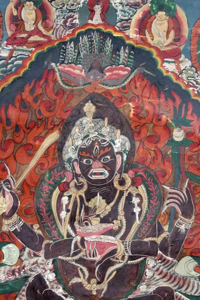 Lot 37 - Caturbhuja - Mahakala ? Thangka, China / Tibet alt.63 cm x 44 cm. Gemälde.Caturbhuja - Mahakala ?
