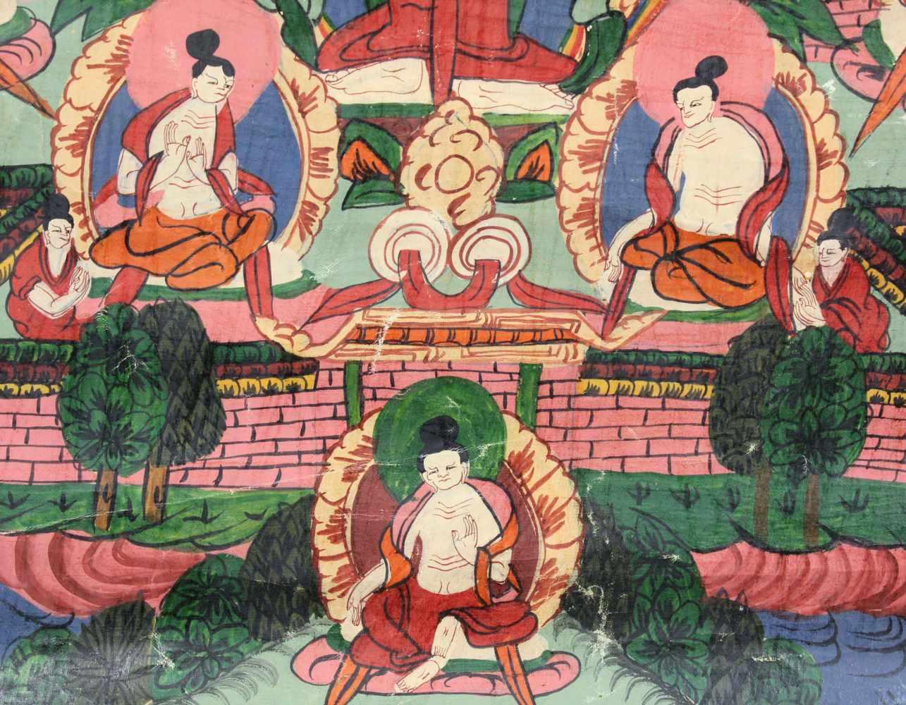 Lot 22 - Avalokiteshavara Thangka, China / Tibet alt.60 cm x 42 cm. Gemälde.Avalokiteshavara Thangka, China /