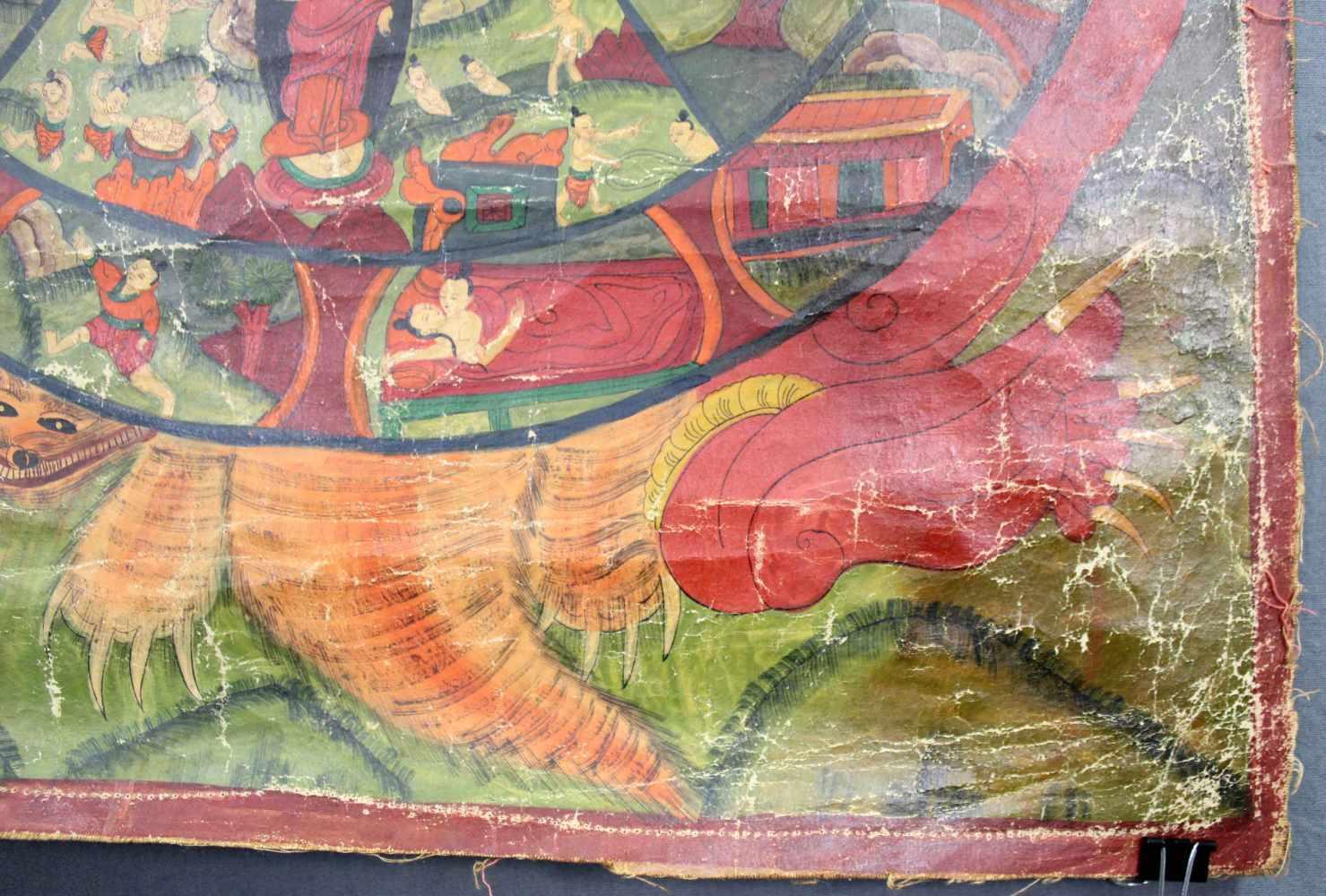 Lot 47 - Bhavacakra Mandala, China / Tibet alt.65 cm x 47 cm. Gemälde. Lebensrad Mandala mit 6 Buddhas. Im