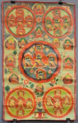 Lot 58 - 5 fach Mandala / Thangka, China / Tibet alt.62,5 cm x 38,5 cm. Gemälde.5 x Mandala / Thangka,