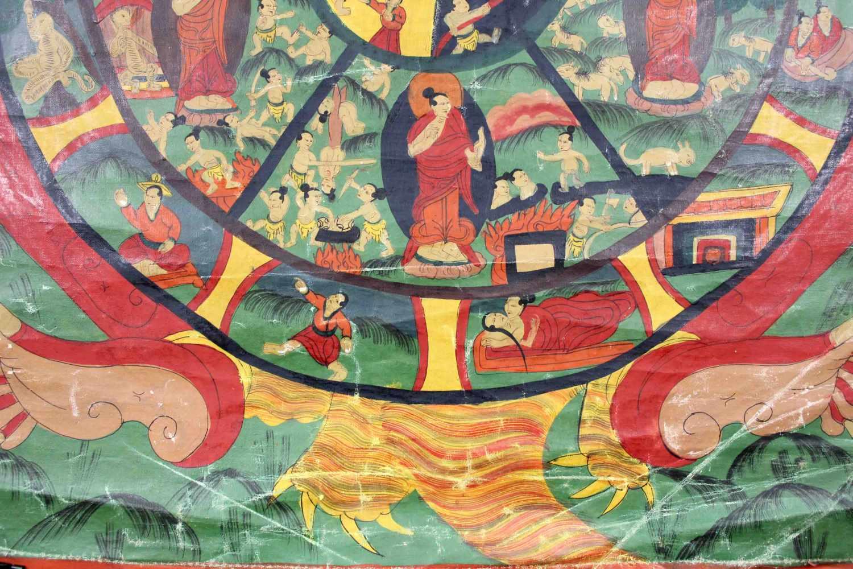 Lot 34 - Bhavacakra Mandala, 6 Buddha Mandala, China / Tibet alt.65,5 cm x 47 cm. Gemälde. Lebensrad