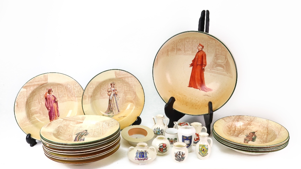 Lot 16 - Fourteen Royal Doulton Series ware pudding bowls, decorated with Shakespearean characters,