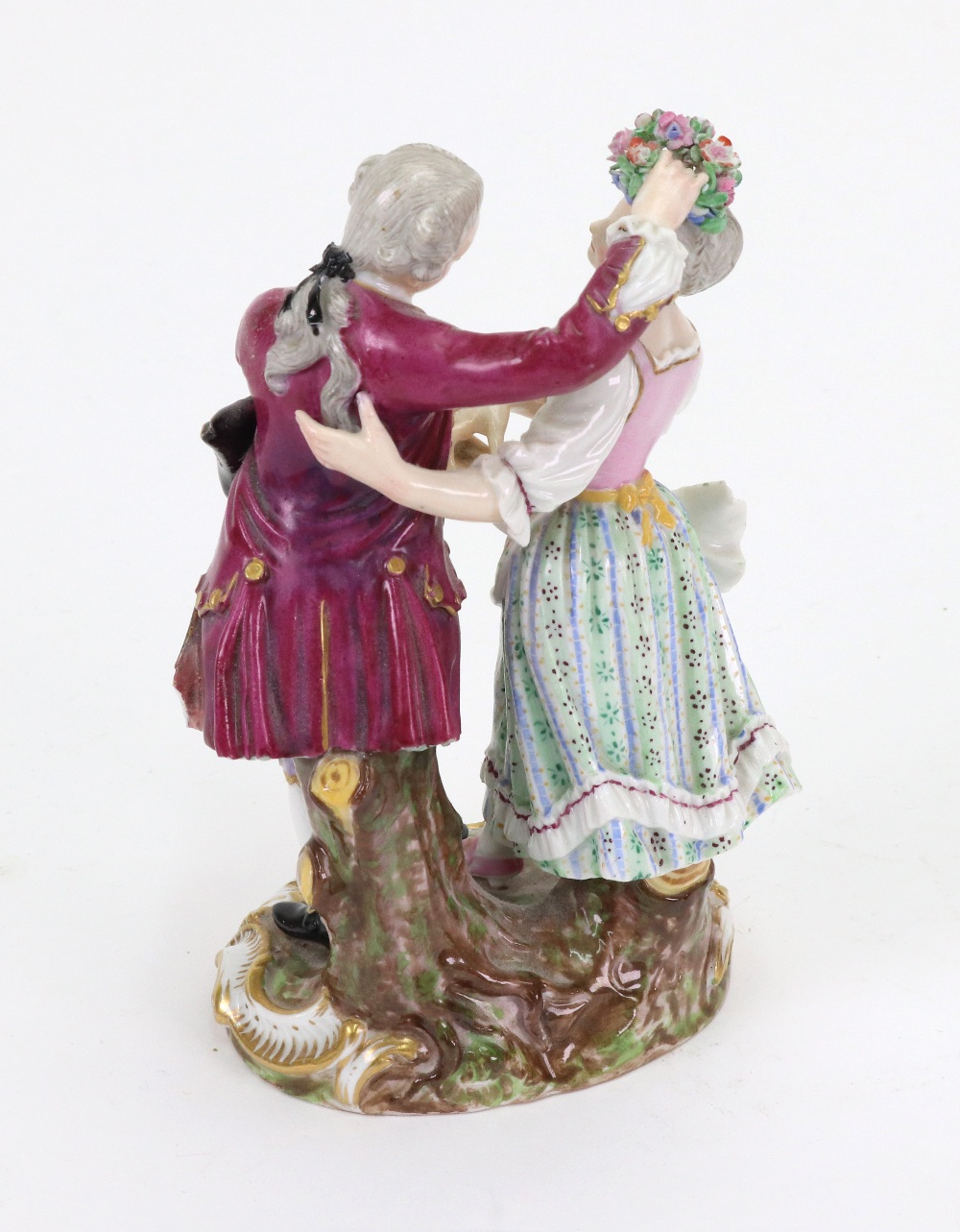 Lot 41 - A Meissen porcelain group modelled as a young lady and gentleman dancing, late 19th century style,