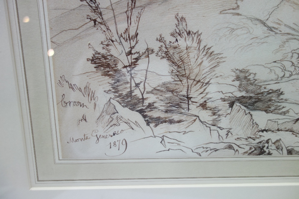 Lot 1068 - Edward Lear (1812-1888), Monte Genesio, pen and brown ink, inscribed and dated 1879, 25cm x 52cm.