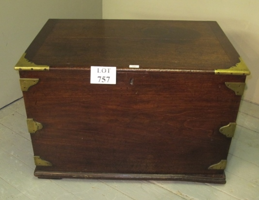 Lot 757 - A large 19th century mahogany brass bound blanket box with iron side handles (slight a/f) est: