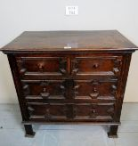 Lot 702 - A small oak 17th century design geometric chest of two short over two long drawers est: £80-£120