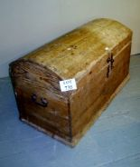 Lot 735 - A 19th century pine dome top trunk with iron fittings est: £60-£90