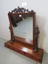 Lot 751 - A large Victorian carved mahogany table top/dressing table mirror with carved and reeded supports