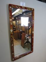 Lot 707 - A pretty red lacquered wall mirror with flower and bird design to frame est: £40-£60