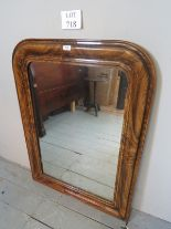 Lot 718 - An unusual pitch pine framed wall mirror with painted grain design est: £30-£50