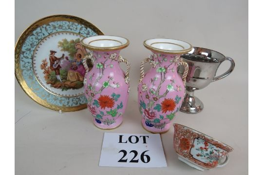 A Pair Of Pink Cherry Blossom Pattern Vases A Limoges Plate A 19th