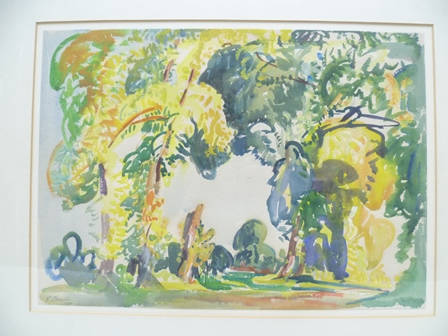 """Lot 1 - EVELYN CHESTON """"Summer landscape"""", Watercolour painting, signed, 26.5cm x 37cm, mounted in stained"""