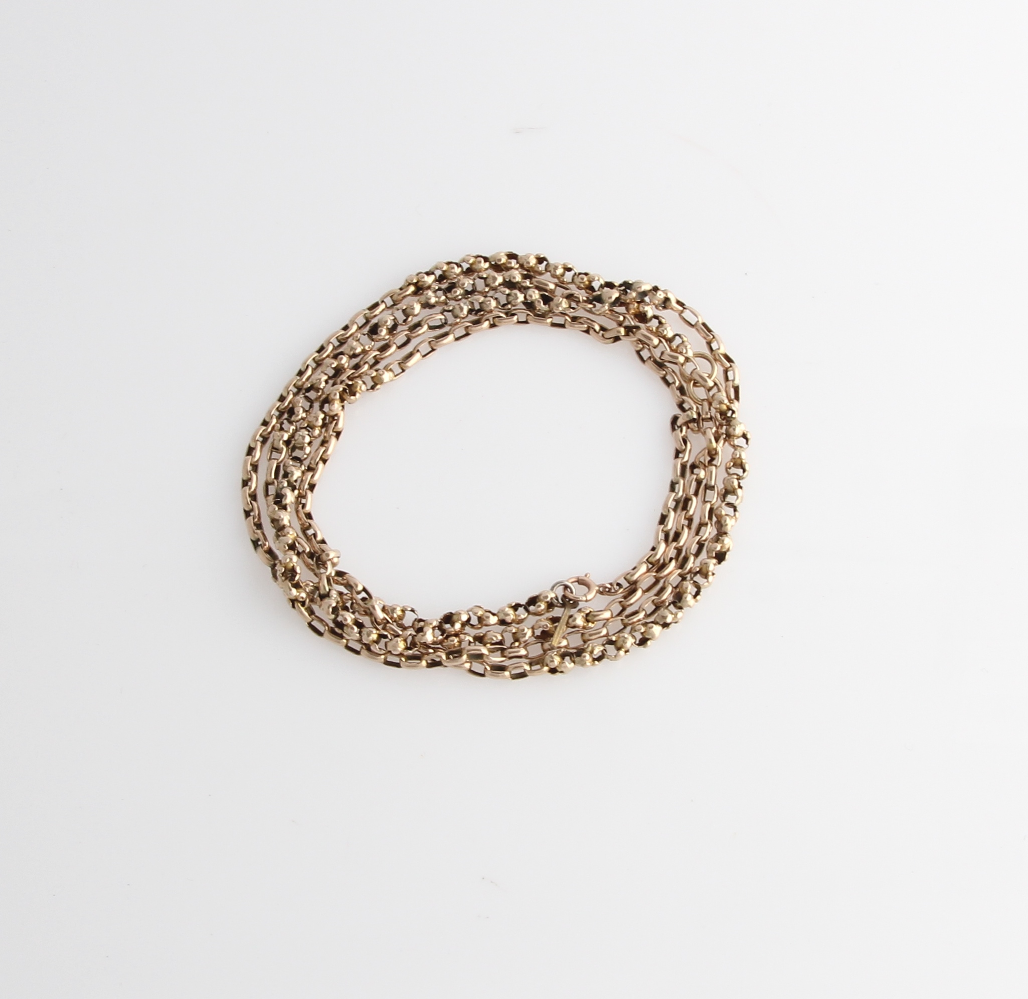 Lot 58 - A belcher link guard chain, featuring alternate sections of two different style links.