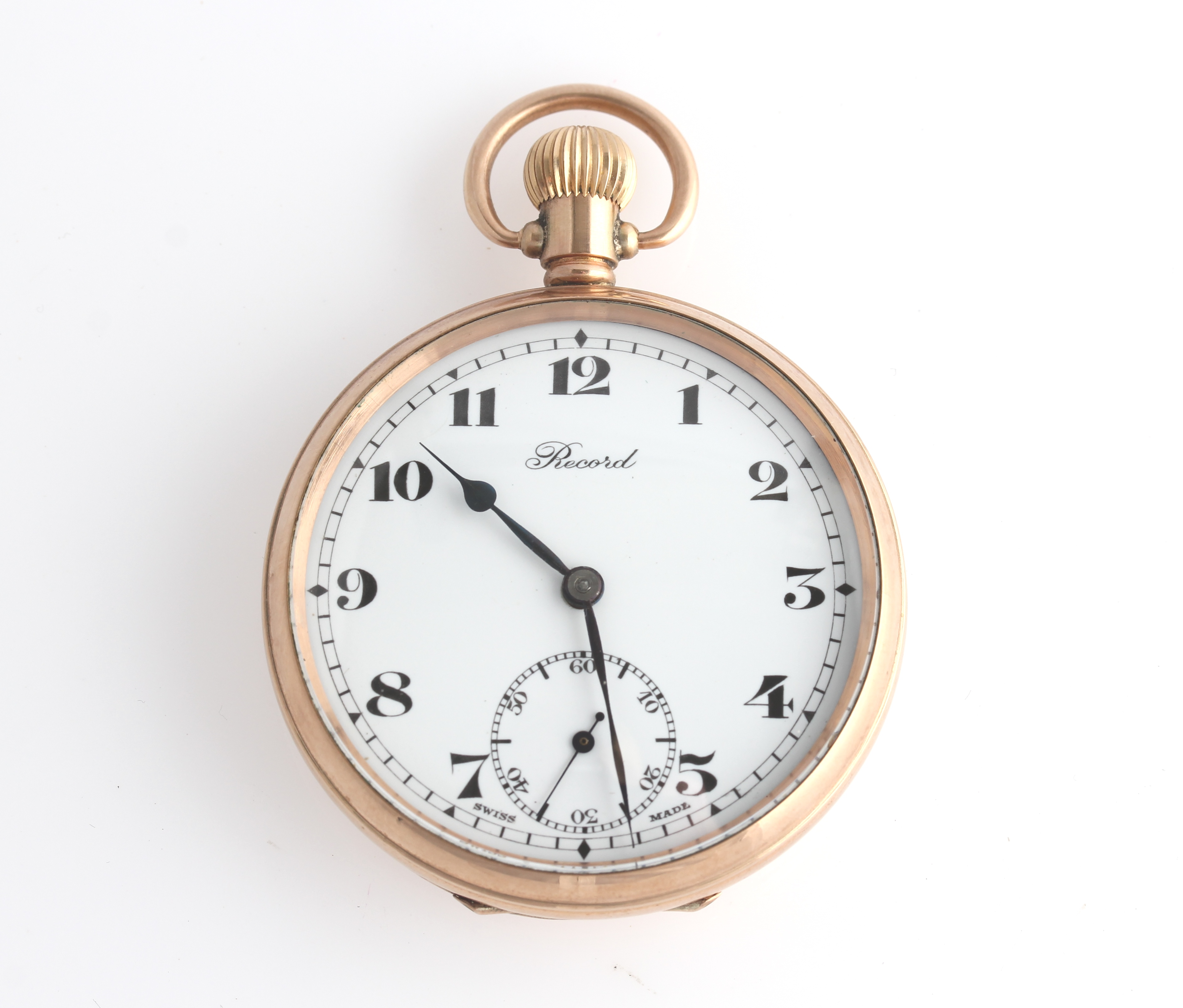 Lot 5 - A 9ct yellow gold cased Record open face crown wind pocket watch, the white enamel dial having
