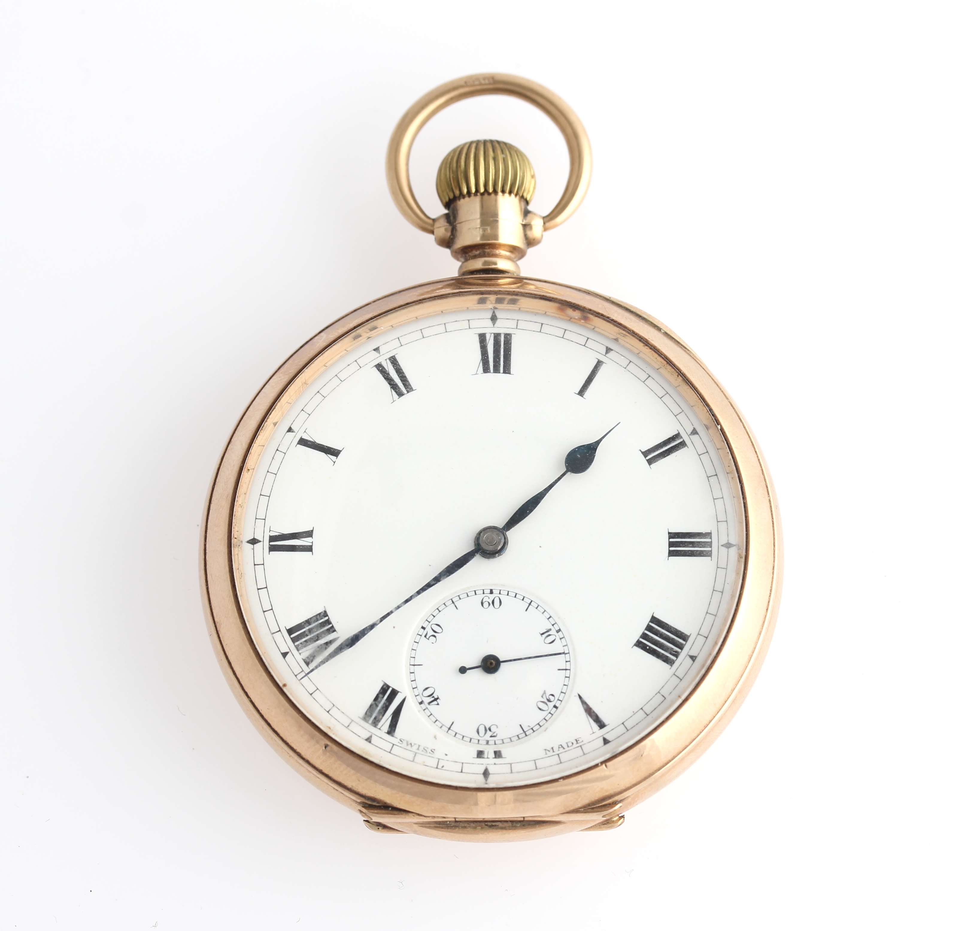 Lot 8 - A 9ct yellow gold cased, open face crown wind pocket watch, the white enamel dial having hourly
