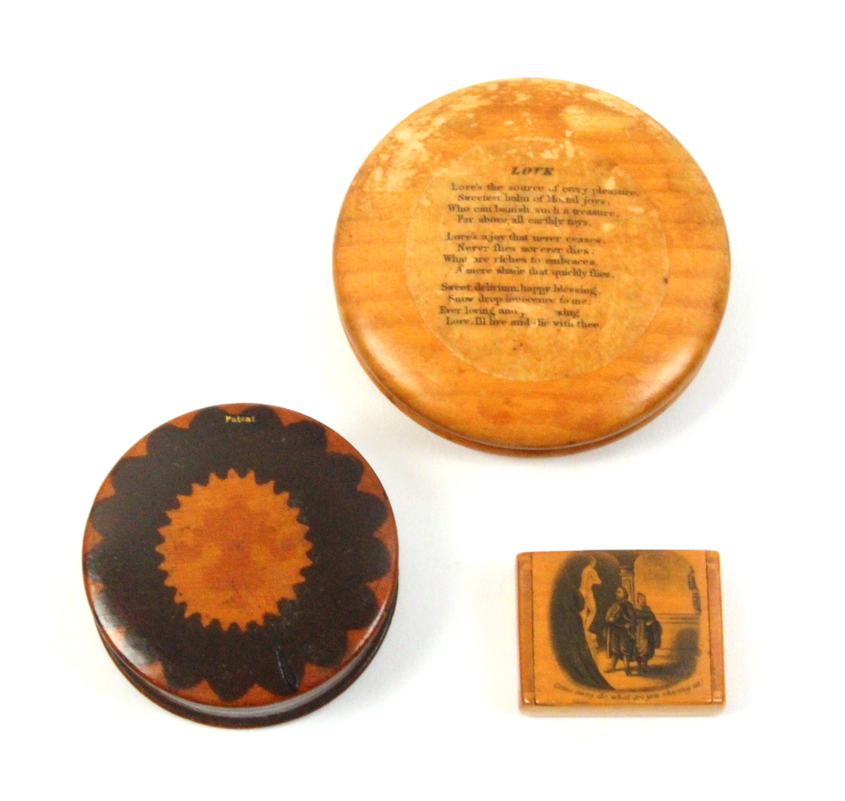 Lot 49 - Mauchline ware - two snuff boxes and another comprising a small example, wooden hinge, the lid